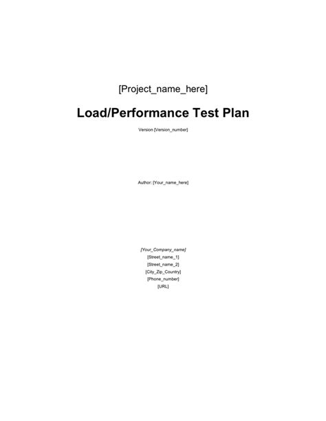 load test plan template load test plan template in word and pdf formats