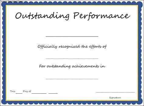 certificate of performance template outstanding performance award certificate template