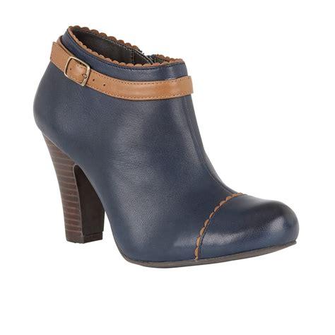 lotus hallmark mulya navy leather heeled shoe boots
