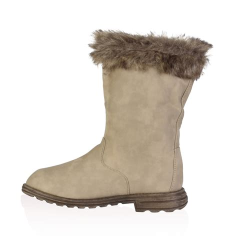 snow boots with fur soft faux fur lined womens button winter snow calf