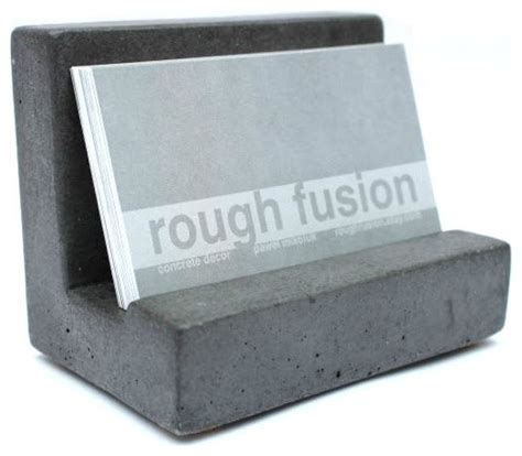 Business Desk Accessories by Concrete Business Card Holder Gray Modern Desk