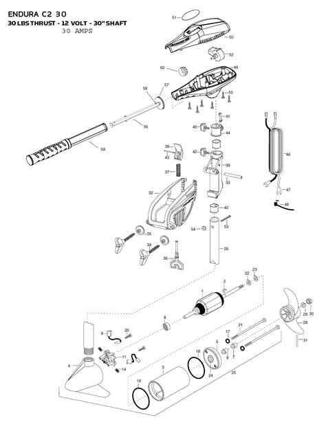 minn kota endura 50 parts diagram minn kota endura c2 30 parts 2015 from fish307