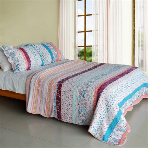 Paisley Patchwork Quilt - qts sjin9218 23 floral paisley 3pc vermicelli quilted