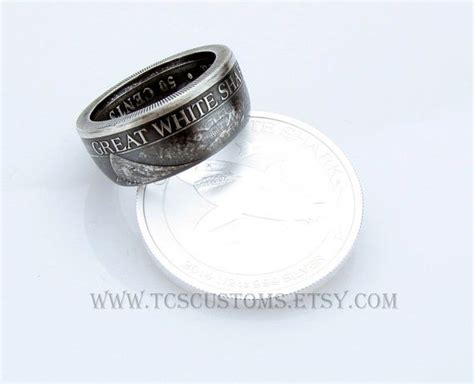 Cincin Xuping Ssd Silver Dan Gold silver great white shark coin ring unique engagement ring wedding ring coin jewelry mens