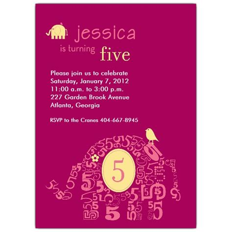5th Birthday Invitation Cards Printable Elephant Girl 5th Birthday Invitations Paperstyle