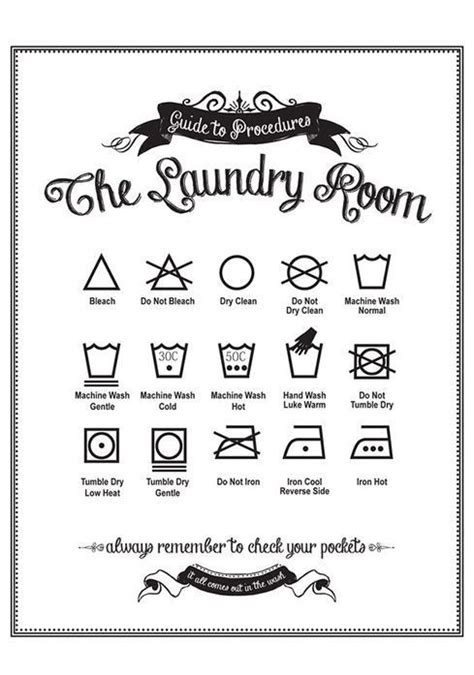 printable laundry directions guide to procedures laundry room print vintage white