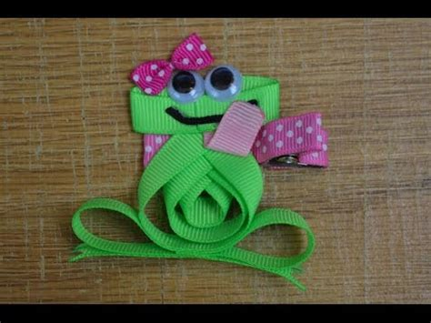 how to make ribbon animal sculptures frog ribbon sculpture zoo animal hair clip bow diy free
