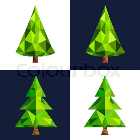 christmas tree flat 3d lowpoly pixel art icon christmas