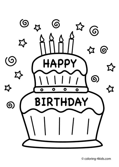 Cake Happy Birthday Coloring Pages Coloring