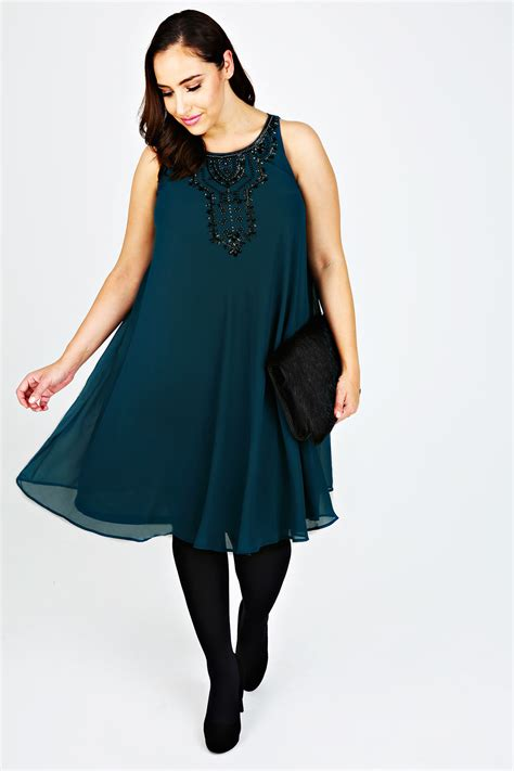 teal swing dress teal chiffon sleeveless swing dress with black