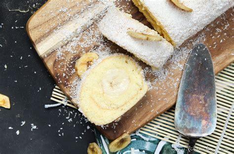 puddingcreme kuchen einfaches tortenrezept bananen kokos biskuitrolle mit
