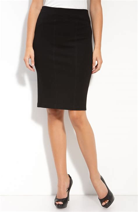 ponte knit pencil skirt ponte knit pencil skirt in black lyst