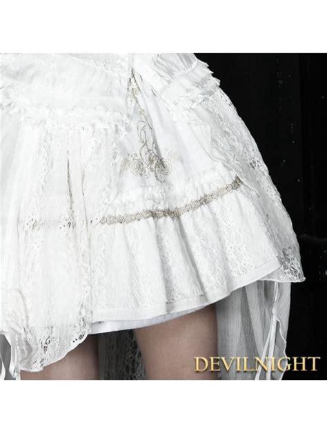 white high low chiffon and lace skirt
