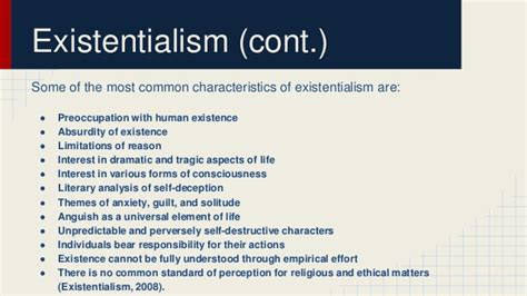 modern biography characteristics realism existentialism