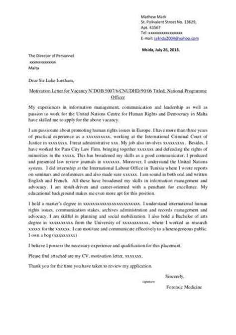 Motivation Letter Exle For Master Degree Motivational Letter For Master Degree