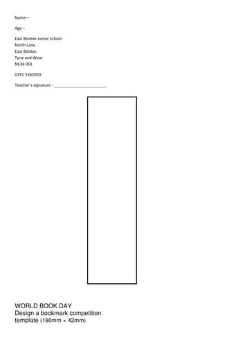 world book day design a bookmark template by dav1970