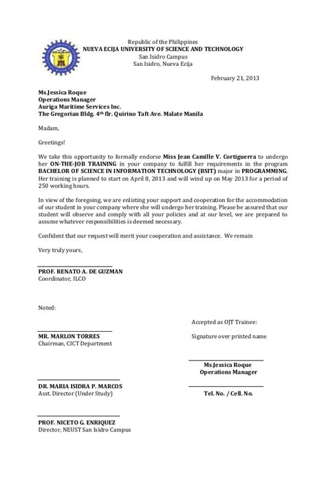 Endorsement Letter For Transfer Of Work Endorsement Letter