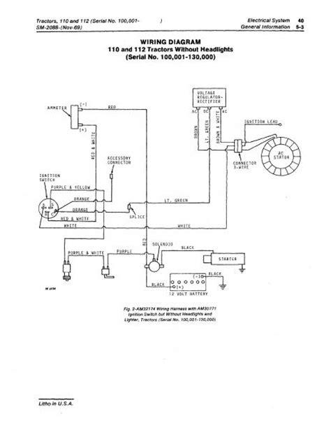 deere 110 lawn tractor wiring diagram wiring diagrams