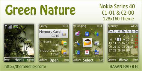 love themes c2 green nature theme for nokia c1 c2 00 themereflex