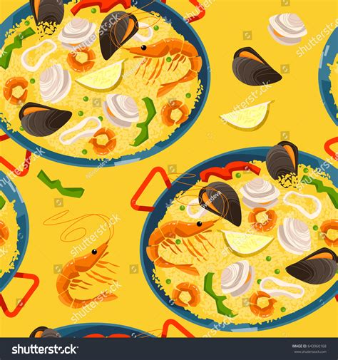 meal pattern in spanish paella seafood traditional spanish food seamless stock