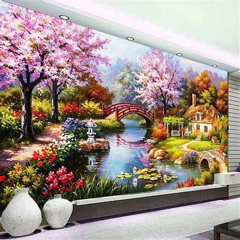 cheap hermoso paisaje flor flores paisaje europeo aceitado