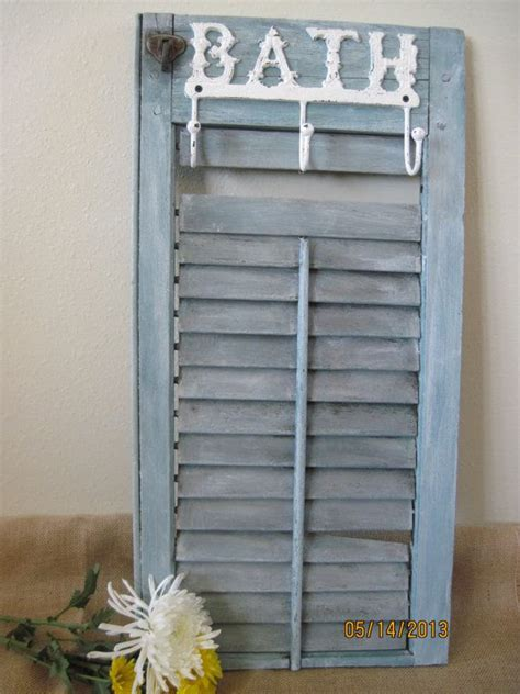 White Shutter Toilet Towel Shabby Bathroom Bath Organizer Cabinet Shelf Ebay Rustic Wood Shutter With Bath Hooks Wall Decor Letter Inital Wood Decor Monograms Barn Board