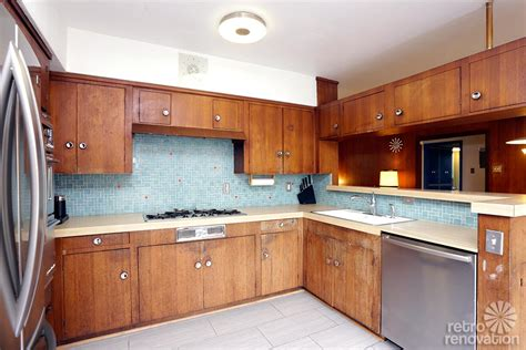 mid century modern kitchen cabinets backsplash tile arbor heights marine view house
