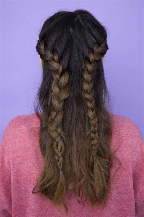 braided hairstyles half up half down half up half down braid how to create 2 completely