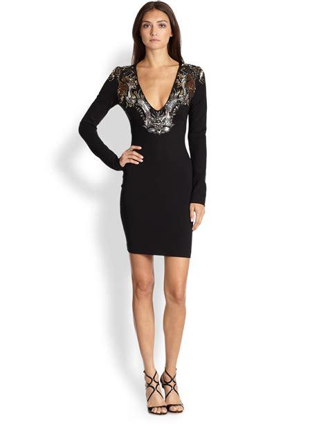 Cavali Dress roberto cavalli beaded border sheath dress in black lyst