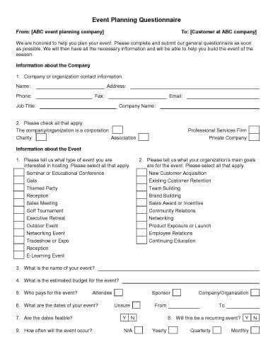 event planning questionnaire template event planning questionnaire template