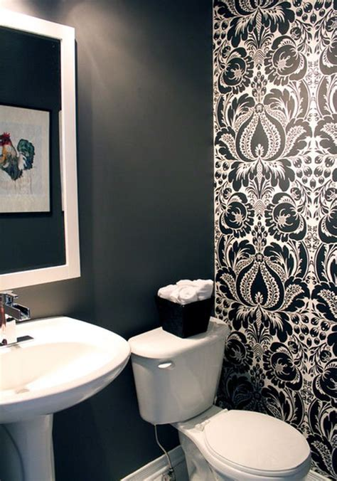 wallpaper trends for bathrooms using black in the bathroom