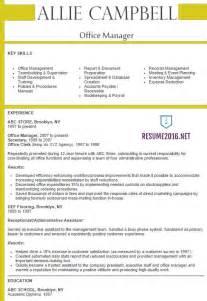 Office Manager Resume by Office Manager Resume 2016 Best Sles