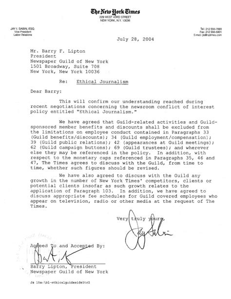 Faa Letter Of Agreement Definition ethical journalism the new york times