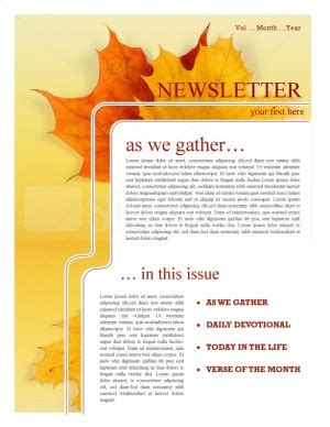 maple leaf church newsletter template newsletter templates