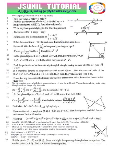 jsunil tutorial questions maths question paper class 10 cbse sa2 2014 blog