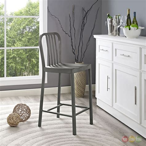 Silver Counter Height Stools by Clink Industrial Counter Height Stool With Brushed Steel
