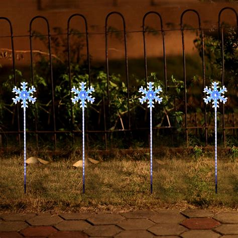 garden stake lights 4christmas white blue snowflake garden lawn light pathway stake led fr home ebay