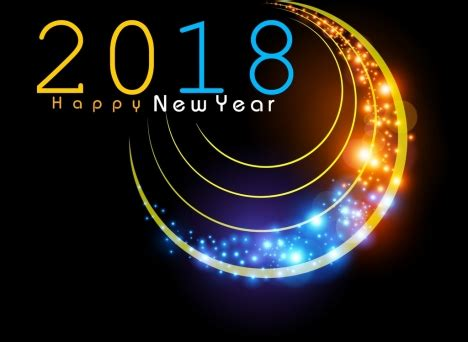new year 2018 banner 2018 new year banner decor sparkling light vectors