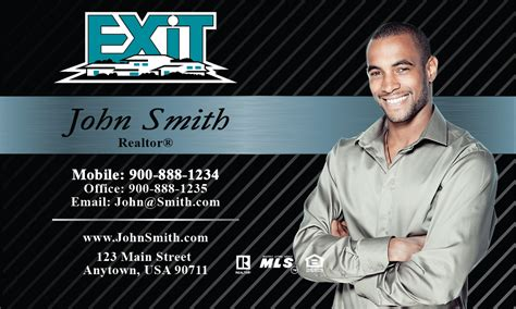Free Exit Realty Real Estate Business Cards Template by Black Exit Business Card Design 117021