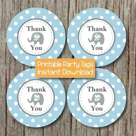Printable Thank You Tags For Baby Shower Favors by Thank You Favor Tags Elephant Printable Baby Shower Birthday