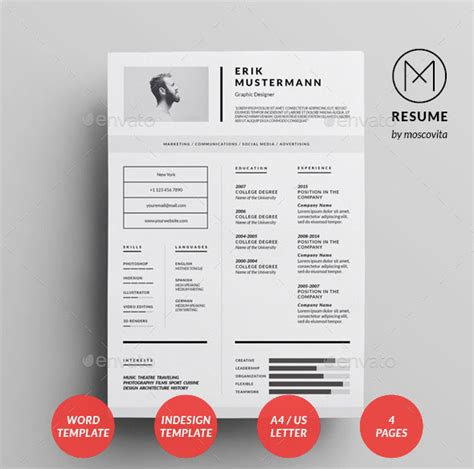 indesign resume template simple 25 best simple photoshop indesign resume templates web