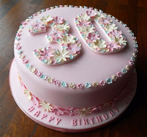 design of happy birthday cake flowery 30th birthday cake
