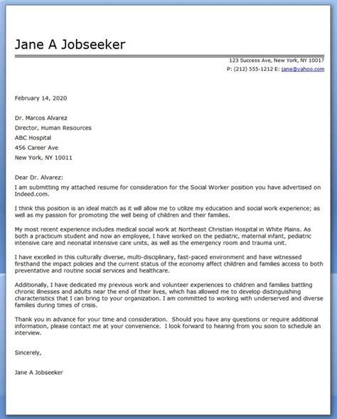 Cover Letter For A Social Worker Position by Cover Letter Exle Social Worker Covering Letter Exle