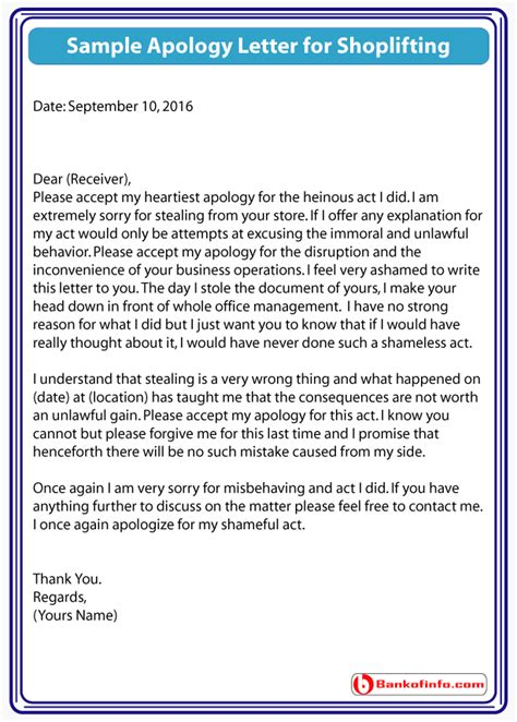 Apology Letter To For Stealing Sle Apology Letter For Shoplifting Collection Of Solutions Apology Letter For Stealing