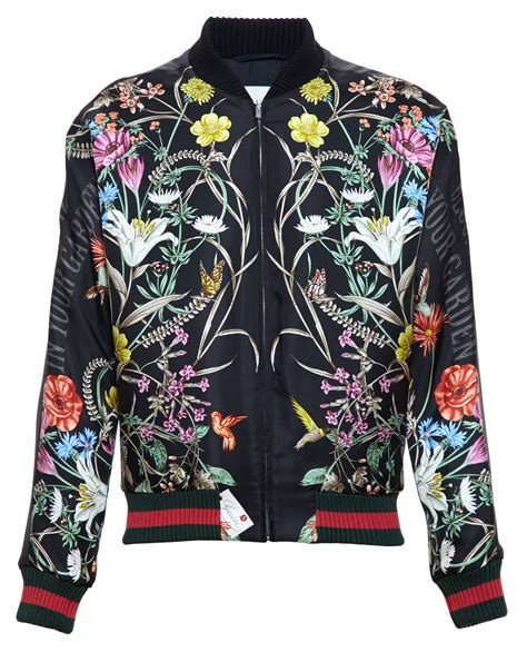 Flower Embroidery Jacket by Lyst Gucci Floral Print Embroidered Silk Bomber Jacket