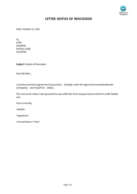 rescind letter rescind letter sample ferdin yasamayolver com