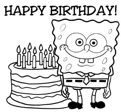 Coloring Pages From Spongebob Squarepants Animated Happy Birthday Color Pages