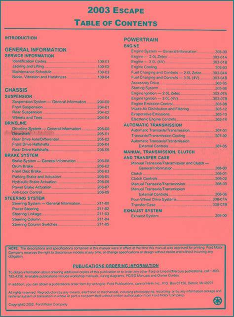car repair manual download 2003 ford escape electronic throttle control 2003 ford escape repair shop manual original