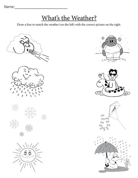 worksheets for preschoolers on weather quot what s the weather quot free printable matching worksheet