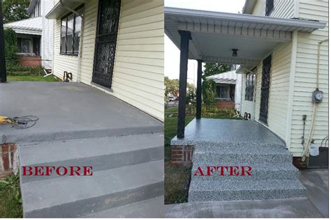 concrete backyard makeover front porch concrete resurface makeover lima oh